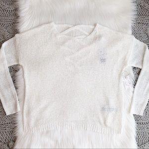 White cross cross back sweater